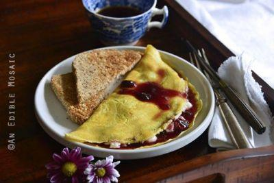 Ricotta and Cherry Stuffed Omelette