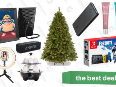 Monday's Best Deals: Lighted Pine Tree, Fortnite Switch, Nixplay Digital Frames, No7 Serum Sale, Anker Charger Gold Box, and More