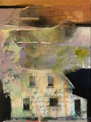 """Mixed Media,Collage Art House, """"UNCERTAIN DREAM"""" by Intuitive Artist Joan Fullerton"""