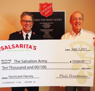 Salsarita's Fresh Mexican Grill Donates $22,000 to the Salvation Army for Hurricane Relief Efforts