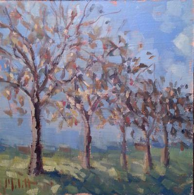 Apple Orchard October Landscape Oil Painting