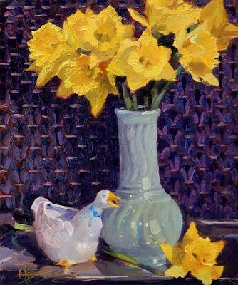 """""""Daffy Duck"""" Still life painting by Robin Weiss"""