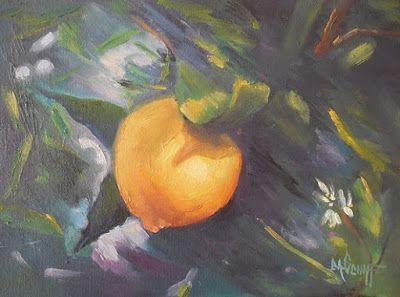 Lemon On Tree Painting, 9x12 Oil Painting, Small Oil Painting, Daily Painting