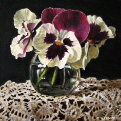 Purple and white pansies in glass jar with crocheted lace 5x5 in. oil painting still life little gems