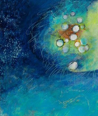 """Blue Art,Contemporary Art, Abstract Painting, Expressionism, Mixed Media """"TIDAL CLUSTER"""" by Contemporary Artist Liz Thoresen"""