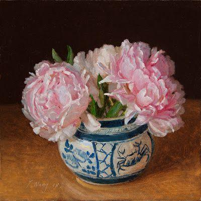Peony flower in a oriental porcelain pot, still life oil painting original contemporary realism flora