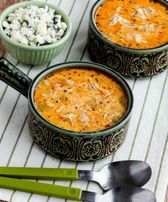 Instant Pot Low-Carb Buffalo Chicken Soup with Crumbled Blue Cheese