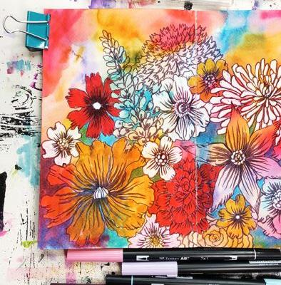 Layering tombow markers