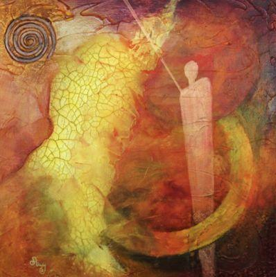 """Original Contemporary Abstract Mixed Media Mystical Figure, Circles Art Painting """"Nebula 1:Other Worlds"""" by Contemporary Arizona Artist Pat Stacy"""
