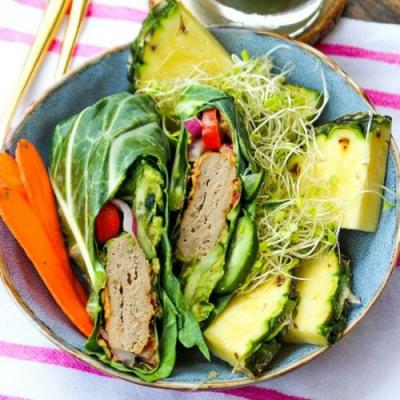 Collard Green Turkey Burgers Wraps