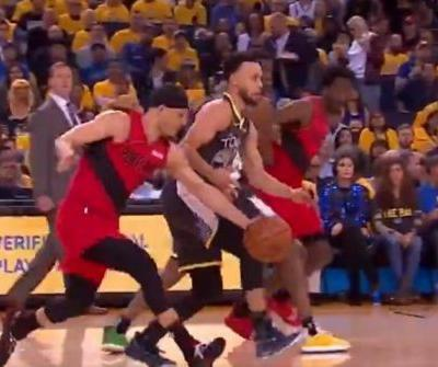 Watch: Trail Blazers' Seth Curry steals ball from Warriors' Stephen Curry