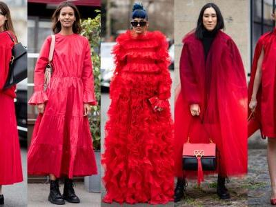 Red Outfits Stole the Street Style Show Over the Weekend at Paris Fashion Week