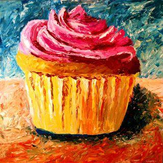 Mark Webster - Giant Cupcake Painting - Acrylic Palette Knife Painting