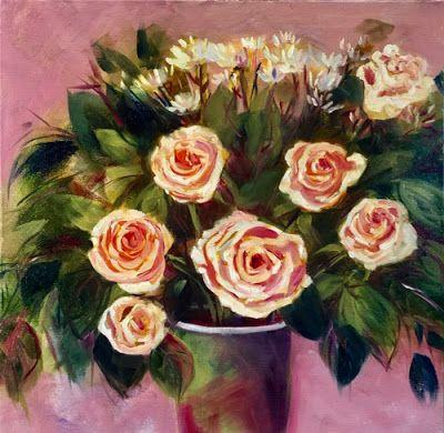 "Contemporary Expressionist Still Life, Bold Expressive Flower Art Painting ""SPRING ROSES"" by Santa Fe Artist Annie O'Brien Gonzales"