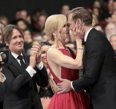 People are weirded out that Nicole Kidman kissed her costar when he won an Emmy