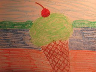 Ice Cream Cone With A Cherry On Top - Oil Pastel