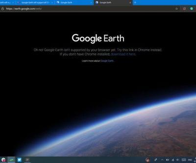 Google Earth will support all Chromium browsers, including Microsoft Edge