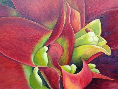 "Original Large Flower Art Painting, Bromeliad, Botanical ""Bold And Beautiful - A Bromeliad"" by Florida Impressionism Artist Annie St Martin"