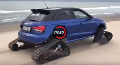 Audi S1 Fools Around On The Beach With Tracks