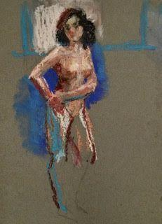 Standing Nude - oil pastel drawing of a nude model
