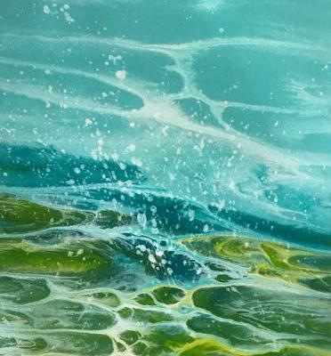 "Contemporary Abstract Seascape Painting, Beach Art,Ocean Waves, Coastal Decor ,Caribbean Summer Series ""Caribbean Green"" by International Contemporary Artist Kimberly Conrad"