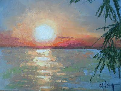 Tropical Sunset Painting, Small Oil Painting, Daily Painting, 8x10