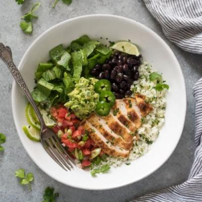 Low Carb Chicken Burrito Bowls