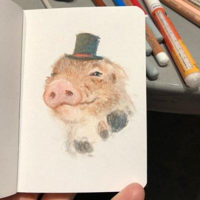 Pastel piggie - happy Sunday! sketchbook pastel pigs illustration