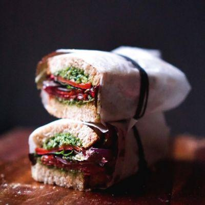 Roasted Pepper and Pesto Sandwich