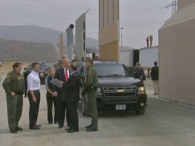 President Trump tours border wall prototypes in SoCal