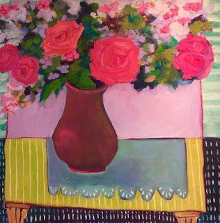 "Bold Expressive Floral Painting, Contemporary Art ""Welcome Spring II"" by Santa Fe Artist Annie O'Brien Gonzales"