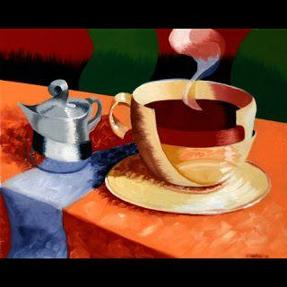 Mark Webster - Abstract Rough Futurism Coffee Cup Still Life Oil Painting