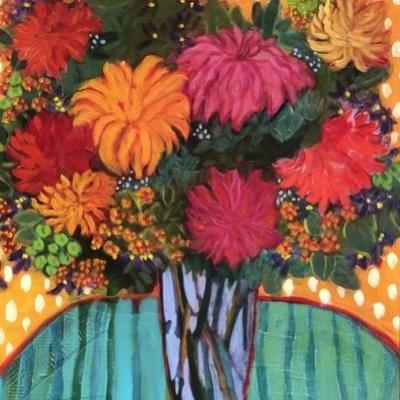 "Contemporary Abstract Bold Expressive Still Life Flower Art Painting ""Santa Fe Fall"" by Santa Fe Artist Annie O'Brien Gonzales"
