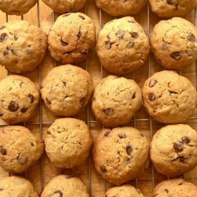 Pecan, oat and choc chip cookies