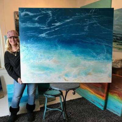"Large Abstract Seascape Painting,Coastal Art,Beach,Contemporary Seascape, Coastal Home Decor, Oversized Art ""Racing the Tide"" by Colorado Contemporary Artist Kimberly Conrad"
