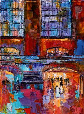 "Cityscape New York City Grand Central Abstract Urban Paintings Fine Art Painting ""Grand Central"" by Debra Hurd"