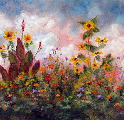 GIFTS FROM THE SUN-Original Plein Air Landscape Flower Oil Painting by Marina Petro