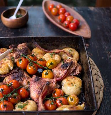 Easy One-Pan Chicken and Potatoes with Herb Sauce