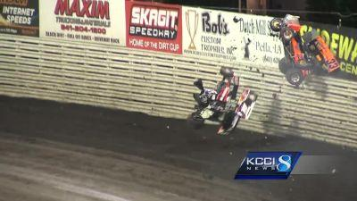 WATCH: Driver flies over fence at Knoxville Raceway