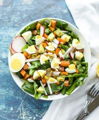 Egg, Spiced Sweet Potato and Kale Salad