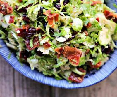 Cranberry Brussels Salad with Bacon Vinaigrette