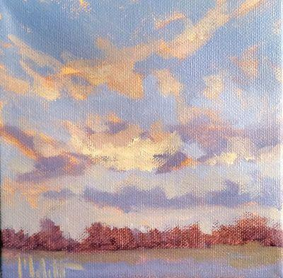 Landscape Oil Painting Sketch August Sunrise Heidi Malott