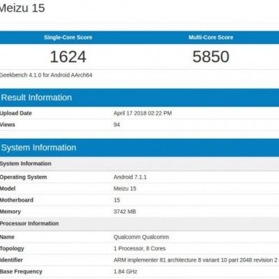 Meizu 15 Surfaces On Geekbench With SD660 SoC, 3GB RAM