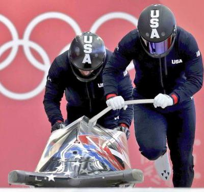 Monterey Olympian Nick Cunninham completes first two bobsled heats