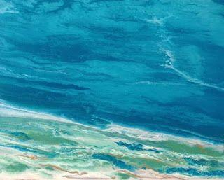 """Original Contemporary Abstract Seascape Art Painting """"Emerald Waters"""" by International Contemporary Landscape Artist Kimberly Conrad"""