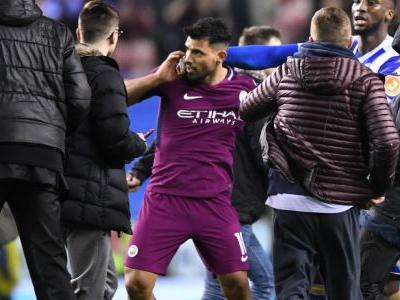 Man City striker Aguero clashes with fan after Wigan defeat