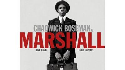 Chadwick Boseman Lives Hard and Fights Harder on the Marshall Poster