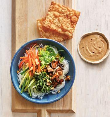 Spring Roll Bowl with Rice Noodles and Peanut Sauce