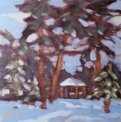Contemporary Art Winter Pines Landscape Oil Painting and Prints