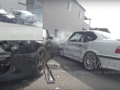 Garage Worker Crashes Customer's E36 BMW M3 Into A Parked Supra